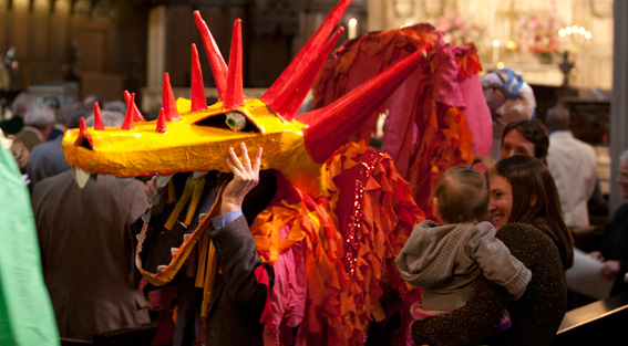 Dragon puppet in puppet parade